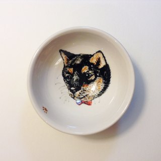 Hand-painted small teacups - Black Shiba Inu