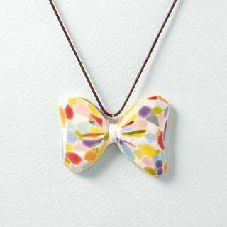 Colorful Bow tie 2- handmade white porcelain necklace