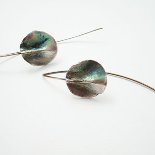 """Spring green"" Sterling Silver Earrings vulcanized"