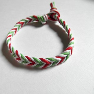 Christmas knot / handmade woven foot ring