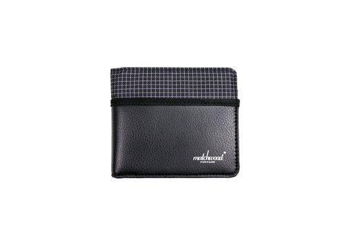 Limited time limit of 79% off - Matchwood Design Matchwood Positive wallet wallet short clip wallet checkered stitching leather black
