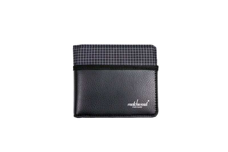 Matchwood Positive Matchwood Positive Wallet Purse Short Wallet Wallet Denim Plaid Black Leather