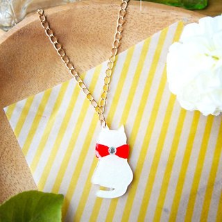 Meow red ribbon and white cat necklace