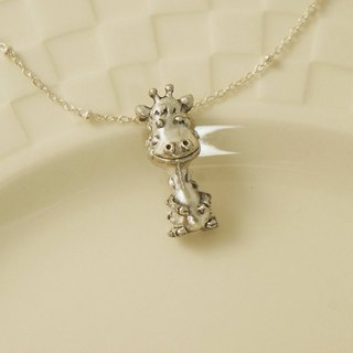 Fancy Moon * long neck deer ‧ sterling silver necklace ‧925
