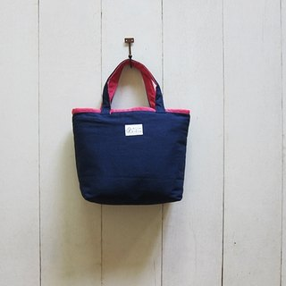 Macaron Series - Small canvas tote bag navy blue + pink