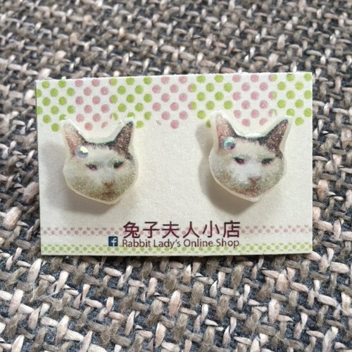 Cute cat picture amphibole earrings