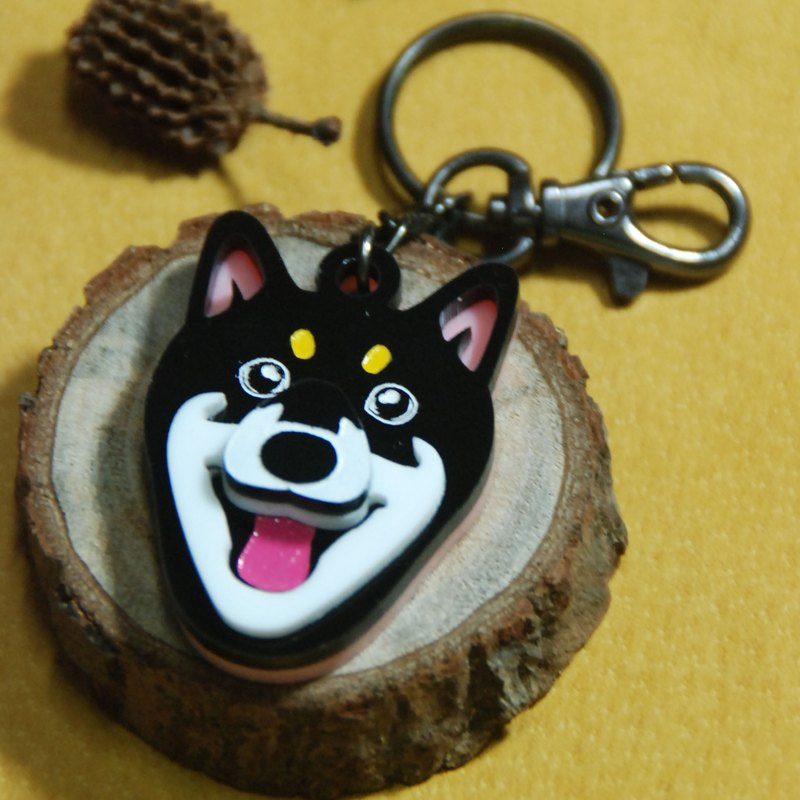 毛小孩在身邊鑰匙圈/柴犬/黑色款