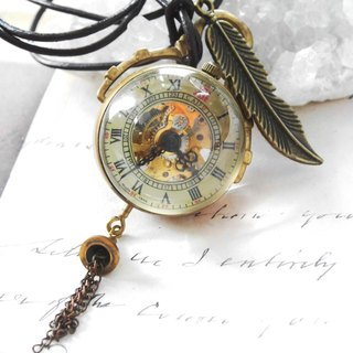 Leather Strap Tourbillon watch when the meter chain necklace nostalgic retro brass mechanical manual