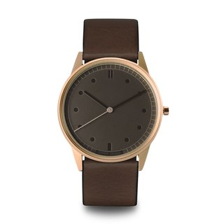 HYPERGRAND - Rose Gold Grey Brown Leather Rose Gold Dial Grey Brown Leather Watch