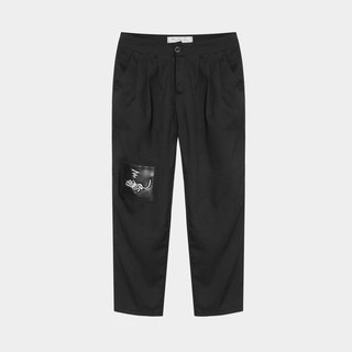 [A] limited idle lazy cat / leather patch embroidered pants suit