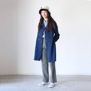 A ROOM MODEL - VINTAGE, CJ-2282 dark blue double-breasted wool coat long retro with Shimokitazawa
