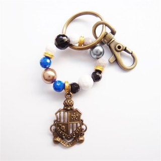 Royal badge beaded key ring