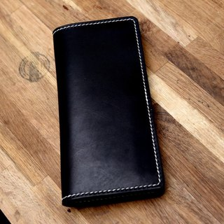 Handmade pot handmade black hand-dyed vegetable tanned leather wallet long wallet female models retro cowhide leather wallet