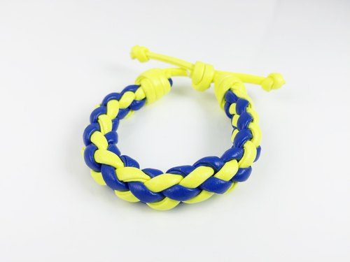 Yellow and blue four-stranded braid