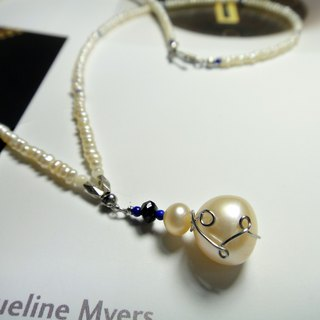 ◎ stainless steel wire pearl necklace * lapis necklace
