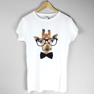 Giraffe-Bow Tie Girls T-shirt -2 color giraffe tie blue paper glasses beard animal art design fashion fashionable word