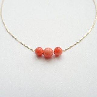 Deep-sea Precious Coral Beads 18K Yellow Solid Gold Dainty Adjustable Necklace