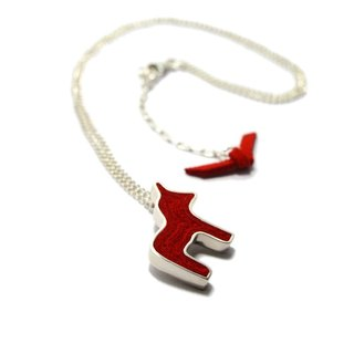 Handmade Mini Dala  Horse Pendant Necklace in Silver