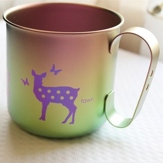 Titanium Love Earth Series Tableware - Made in Japan Pure Titanium Green ECO Design Mug - Leisurely Deer