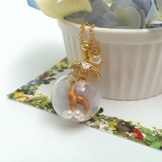 Fawn fog forest glass ball necklace