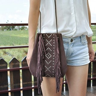 COWFT coffee color purple suede fringed bag rivets totem