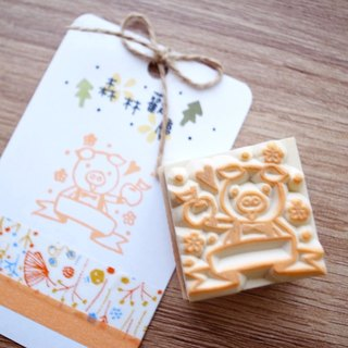 Red warm hand-made handmade rubber stamp | forest celebration series - pig with apple *