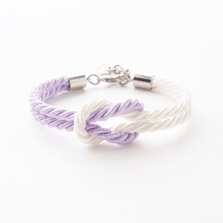 Lilac and white knot rope bracelet