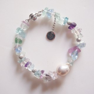 Nature Fluorite with nature freshwater pearl bracelet