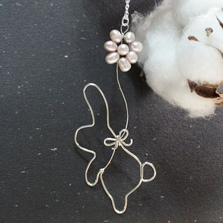 Flying Rabbit Sterling Silver Necklace with Freshwater Pearl