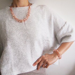French noble hand-made imitation pearls woven copper rose gold necklace hand and chain kit