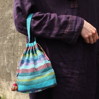 【Grooving the beats】Handmade Hand Woven String Pouch / Draw String Bag / Hand Bag(Green)