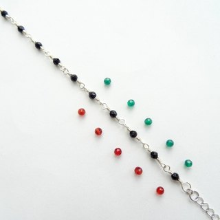 Delicate Red / Green Agate Faceted Round Beads Sterling Silver Bracelet