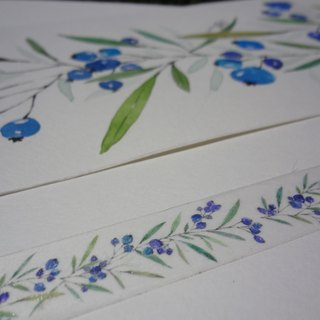 Hand-painted watercolor paper tape ~ Blueberry wind