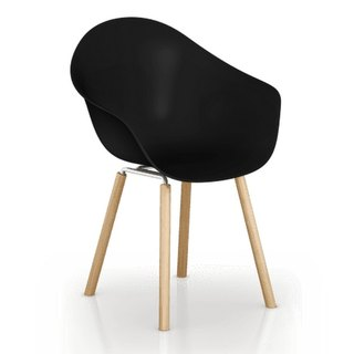 TOOU ArmShell Chair with oak legs (black) New Arrivals Shipping
