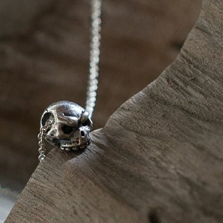 Mini Skull Skull Necklace in Sterling Silver hand made necklace silver / black