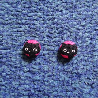 (C) the pink cat _ cloth button earrings C22BT / UY27