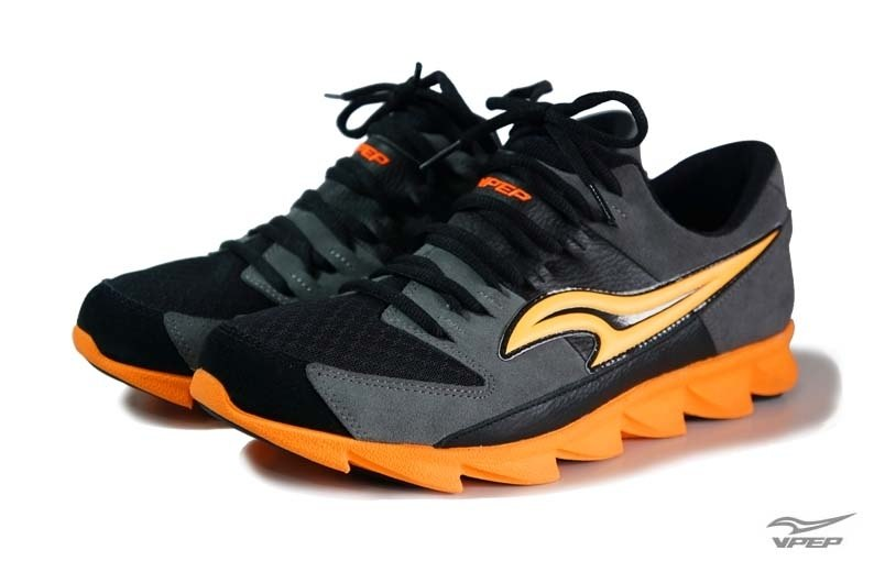 VPEP men's casual running shoes / low-key gray with orange /
