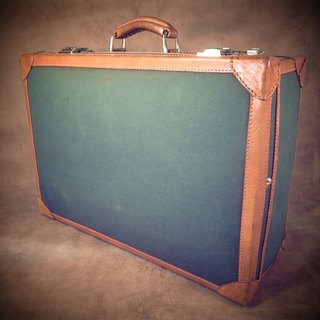 Old bone early caramel color leather x green canvas vintage suitcase VINTAGE