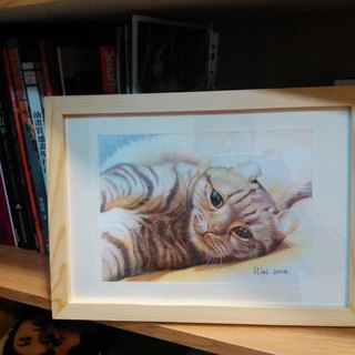 Pure hand-painted color pencil pet portrait (with body or background) (with box)