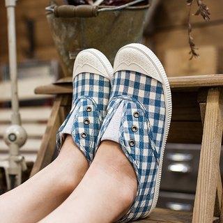 FREE Plaid Blue Show shoes (left JAP23.0 = EUR36) 50% Off Insole with spots (not moldy) / canvas shoes / lazy / casual shoes National casual shoes Taiwan good product Southgate Nandu