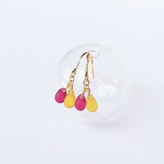 Symbiotic 氲 drop grape mango color mini earrings wild custom gift natural stone