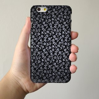 Black floral 35 3D Full Wrap Phone Case, available for  iPhone 7, iPhone 7 Plus, iPhone 6s, iPhone 6s Plus, iPhone 5/5s, iPhone 5c, iPhone 4/4s, Samsung Galaxy S7, S7 Edge, S6 Edge Plus, S6, S6 Edge, S5 S4 S3  Samsung Galaxy Note 5, Note 4, Note 3,  Note 2