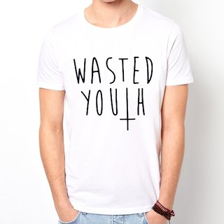 WASTED YOUTH # 2 T-shirt -2 color text mustache beard retro funky glasses Wen Qing Art and Design