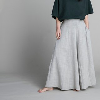 Handmade cotton and linen wide hem pants - light grey