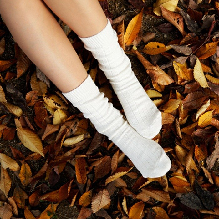GREEN BLISS Organic Cotton Socks - [Nordic Series] Iceland Ivory Iceland Ivory White Stockings (thick woven)