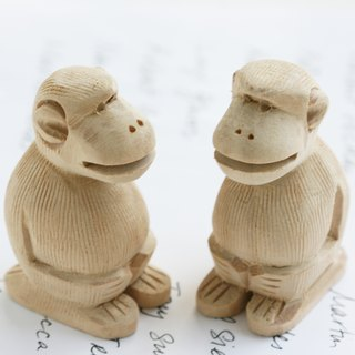 Hand engraved wooden mouth monkey Card Holders (set of two) Monkey Name Card Holder
