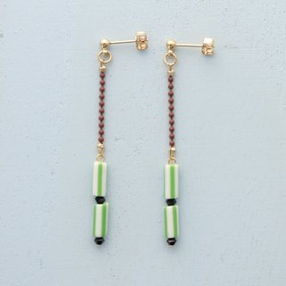 stripe - green earrings / earrings