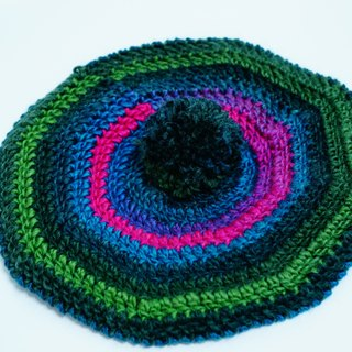 Kammistry.// Hand-woven wool beret cap painter hat (pink blue-green)