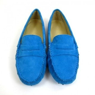 Fort Tony Wang handmade leather shoes (female) [matte / bean bottom / light blue]