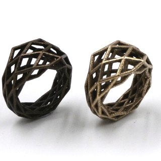 3D打印飾物戒指 - 三維打印 x Grid Geometry Ring (不鏽鋼)